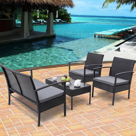Gymax Patio Garden 4PC Rattan Wicker Furniture Set Black - image 5 of 9