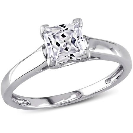 1 Carat T.G.W. Princess-Cut Created White Sapphire 10kt White Gold Solitaire Engagement - White Gold Contour Engagement Ring