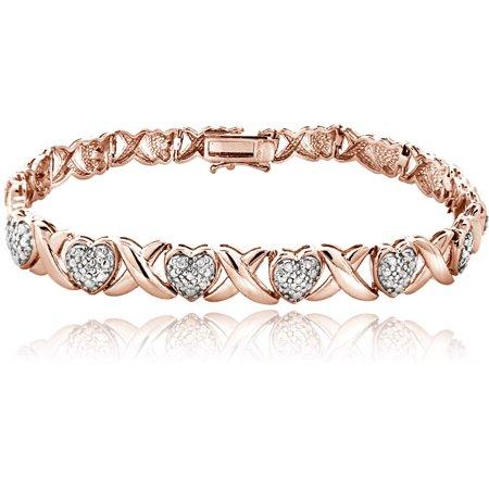 0.50 Carat T.W. Diamond 18kt Rose Gold-Tone X and Heart Bracelet