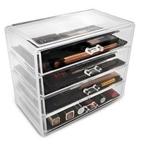 Sorbus Acrylic Cosmetics Makeup and Jewelry Storage Case Display - 4 Large Drawers -Space- Saving, Stylish Acrylic Bathroom Case Great for Lipstick, Eye Liner, Nail Polish, Brushes, Jewelry and More