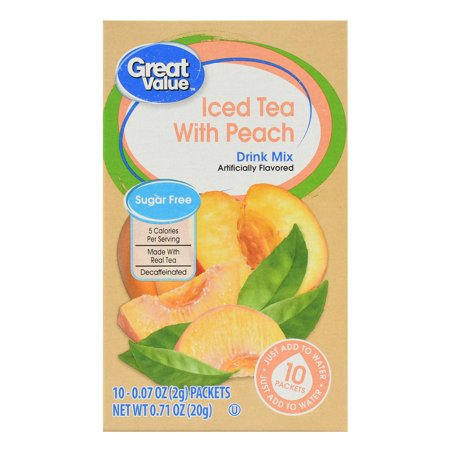 (3 Pack) Great Value Drink Mix, Iced Tea with Peach, Decaffeinated, Sugar-Free, 0.71 oz, 10