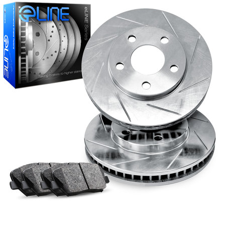 1995 1996 1997 1998 1999 BMW M3 Front eLine Slotted Brake Disc Rotors & Ceramic Brake Pads