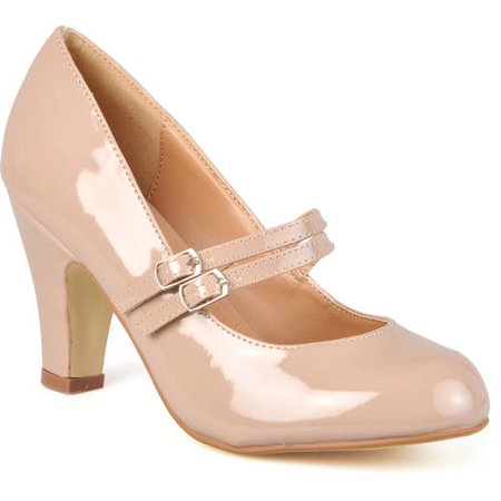 - Brinley Co. Women's Medium and Wide Width Mary Jane Patent Leather Pumps