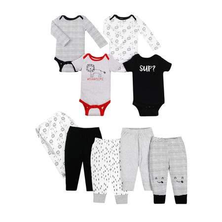 Little Star Organic Star-Pack Mix 'n Match Outfits, 8pc Gift Bag Set (Baby Boys) - Skylander Outfits