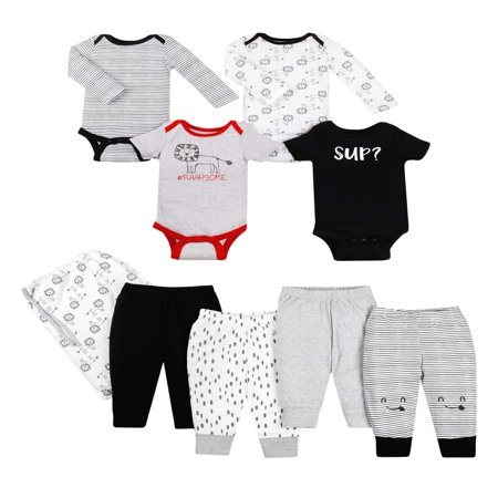 Little Star Organic Star-Pack Mix 'n Match Outfits, 8pc Gift Bag Set (Baby Boys) (Skylander Outfits)