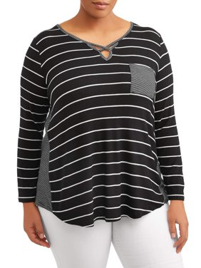 Women's Plus Size Long Sleeve Keyhole Shirt with Contrast Detailing
