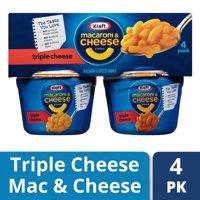 (2 Pack) Kraft Easy Mac Macaroni & Cheese Dinner Triple Cheese Flavor, 4 - 2.05 oz Microwavable Cups