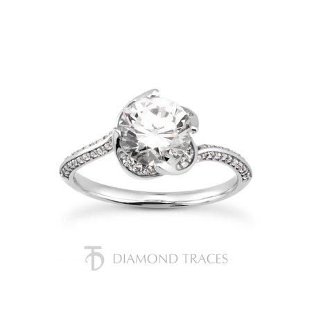 1.88ctw I-SI3 Ideal Cut Round Genuine Diamonds 18k Gold Flower Wedding Ring -