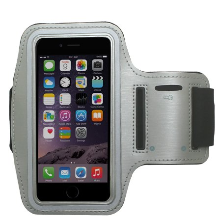 CBUS Gray Water Resistant Phone Armband Running Sports Case for Motorola Moto G7, Moto Z3, Z3 Play, Moto E5 LTE, E5 Play, E5 Cruise, G6, G6 Play, G6 Forge, Adjustable, Reflective w/ Screen Protection - Gray Sports Armband