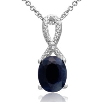 2 1/4ct Sapphire and Diamond Ribbon Necklace