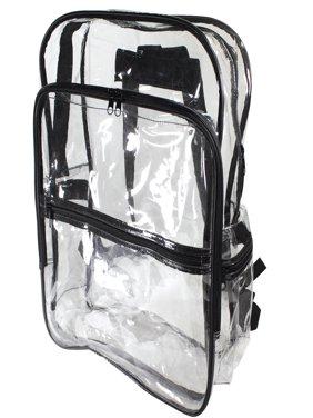 Large Size Clear Backpack Book Bag Transparent School Sports Stadium Concert Arena TSA Security Shoulder Travel Pockets
