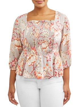 Women's Plus Size Woven Smocked Front Peplum Top