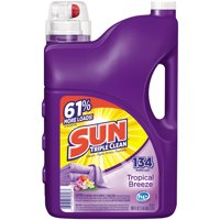 Sun Liquid Laundry Detergent, Tropical Breeze, 188 Ounce, 134 Loads