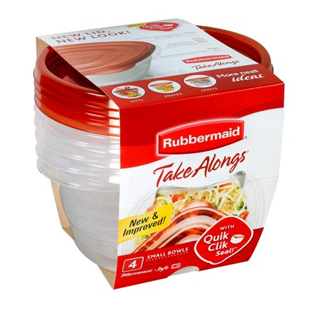Rubbermaid TakeAlongs Food Storage Containers (Set of 4), 3.2 Cups, Bowls