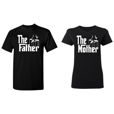 The Father - The Mother Couple Matching T-shirt Set Valentines Anniversary Christmas Gift Men Small Women Small