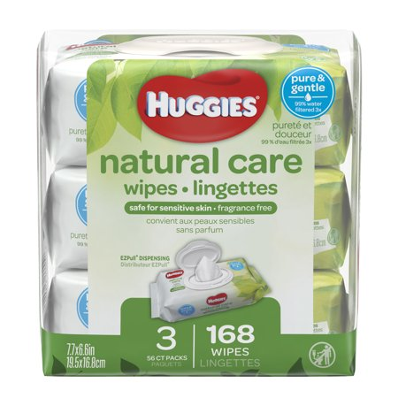 HUGGIES Natural Care Baby Wipes, Unscented, 3 packs of 56, 168