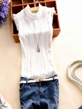 EFINNY Asian Size Women Summer Sleeveless Office Work Casual T-Shirt Tops Blouses