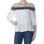 98eacb408e4467 BCX Womens Ivory Cold Shoulder Tribal 3/4 Sleeve Square Neck Blouse Evening  Top Size