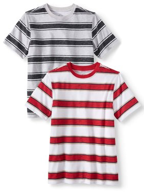Short Sleeve Stripe Tee Shirt Value, 2-Pack Set (Little Boys, Big Boys, & Husky)