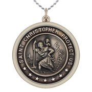 6a5c4646b 1.0in Round 0.925 Sterling Silver St Saint Christopher Medal Pendant  Necklace