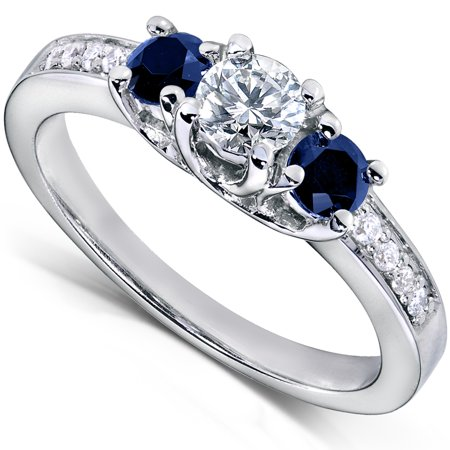 Blue Sapphire and Diamond Engagement Ring 3/5 Carat (ctw) in14k White