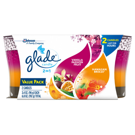 Glade® 2in1 Jar Candle Air Freshener, Hawaiian Breeze® & Vanilla Passion Fruit, 6.8oz, 2 - Household Utility Candles