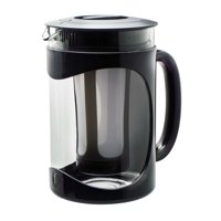 Primula Burke 1.6 Qt. Temperature Safe Borosilicate Glass Cold Brew Coffee Maker with Protective Holder and Brew Filter - Black