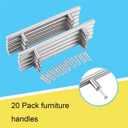 20 Drawer Bar Pull Handles, Kitchen Furniture Cabinet Door Handles, Household Stainless Steel Cupboard Drawer T Bar Pull Handle for Shoe Cabinet, Bookcase, Drawer ()