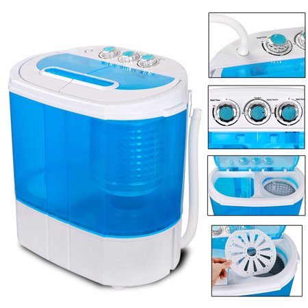 Zeny Portable Washing Machine, Mini Twin Tub Washing Machine w/Washer&Spinner, Gravity Drain Pump, 9.9lbs Capacity