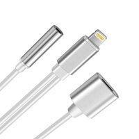 iPhone 8 Adapter 2 in 1 Lightning ,iphone 7 Plus Adapter Lightning to 3.5mm Aux Headphone Jack and Charger Cable for iPhone 7 / 7 plus-Silver
