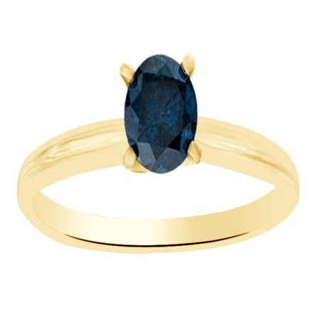14k Natural Diamond Solitaire Ring (Blue Natural Diamond Solitaire Engagement Ring in 14k Yellow Gold (0.5 Cttw))