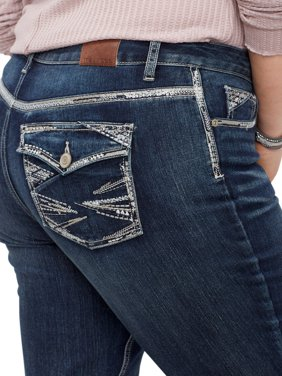 7bd8c1254e096 Product Image Plus Size DenimFlex TM Dark Wash Sequin Pocket Slim Boot Jean