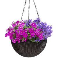 """Round Self-Watering Hanging Planters- 10"""""""