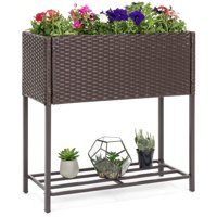 Best Choice Products 2-Tier Indoor Outdoor Patio Wicker Raised Planter Elevated Garden Bed Box Stand for Potted Flowers, Herbs, Succulents - Brown