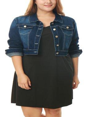 Women's Plus Size Button Closed Trucker Cropped Denim Jacket Coat Outerwear Dark Blue 1X