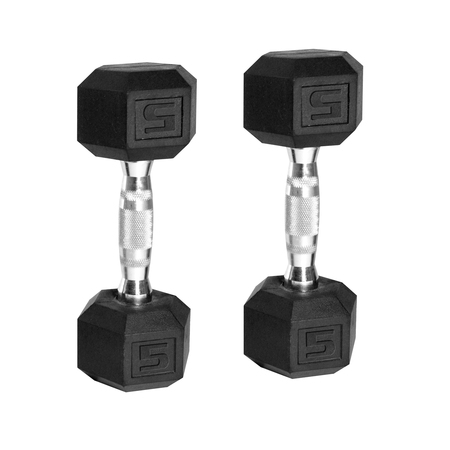 8 Barbells (CAP Barbell Rubber-Coated Hex Dumbbells, Set of 2 10lbs -)
