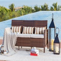 Suncrown Outdoor Modular Furniture Patio Sofa Couch (Seats 3) Garden, Backyard, Porch or Pool | All-Weather Wicker with Cushions | Easy to Assemble
