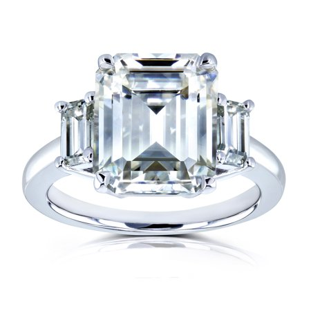 Cut Moissanite Stone - 5 1/2 Carat TGW Three Stone Emerald Cut Moissanite Statement Engagement Ring in 14k White Gold