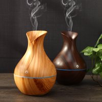 USB 7 LED Wood Grain Aromatherapy Quiet Air Humidifier 130ml Mini Ultrasonic Cool Mist Humidifier Essential Oil Diffuser