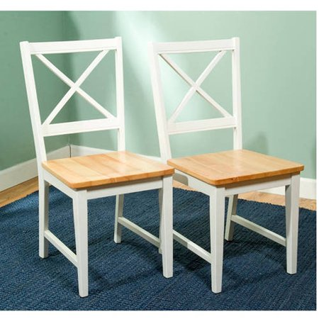 Metro Side Chair 2 Chairs - Virginia Cross-Back Chair, Set of 2, White/Natural
