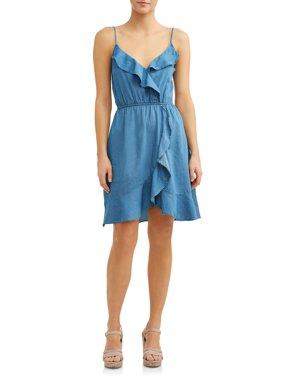 Women's Ruffle Front Denim Dress