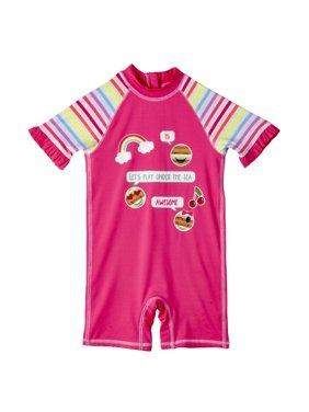 Baby Girl One Piece Rashguard Swimsuit