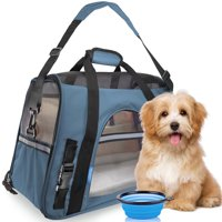 ToysOpoly Premium Pet Travel Carrier, Airline Approved, Soft Sided with Fleece Bed Mats, Perfect for Small Dogs, Cats, Birds, Rabbits, and Chicken. (Light Blue)
