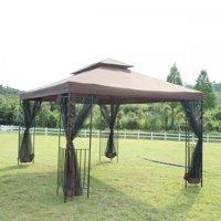 12'X 10' Outdoor Gazebo Steel frame Vented Gazebo w/ Netting Brown N34