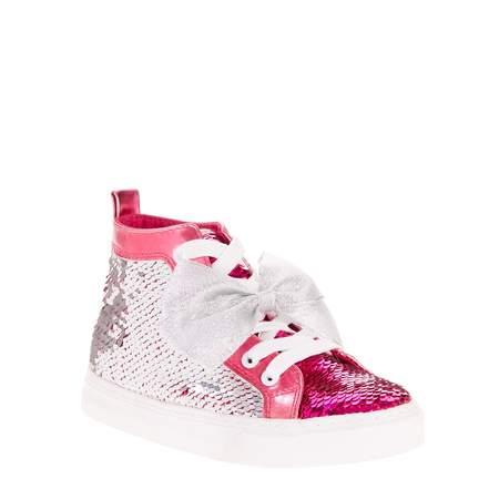 Girls Shoes (Jojo Siwa Girl's Reverse Sequin Silver and Pink Bow High Top)