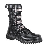 791fb81de35 MENS Mid Calf Combat Boot Punk Goth 10 Eyelet 4 Strap Steel Toe Black  Leather