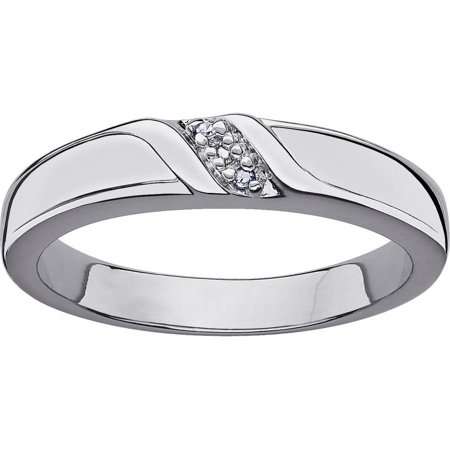 Platinum Plated Silver  Diamond Wedding (Platinum Ladies Diamond Wedding Band)