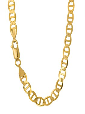 10k Solid Yellow Gold 3.2mm Mariner Chain Necklace - 16 18 20 24