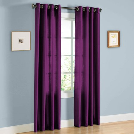 "1 PANEL MIRA  SOLID PLUM  SEMI SHEER WINDOW FAUX SILK ANTIQUE BRONZE GROMMETS CURTAIN DRAPES 55 WIDE X 84"" LENGTH"