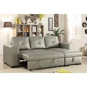 Convertible Sectional Sofa Small Family Living Room Furniture Silver Faux Leather Pull Out Bed Sofa & Storage Chaise Accent Tufted
